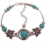 Yazilind Tibetan Silver Rimous Green Turquoise Inlay Butterfly Bead Bangle Bracelet