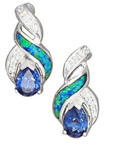 Sterling Silver Cubic Zirconia, Created Opal And Imitation Tanzanite Teardrop Drop Post Earrings