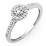 0.50 Carat (ctw) 14k White Gold Brilliant Round Cut Diamond Ladies Engagement Bridal Halo Ring 1/2 CT (Size 5)