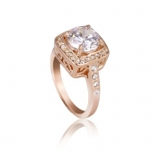 Fashion Plaza 18k rose Gold Plated Use Swarovski Crystal Engagement Spark Ring R30 Size 7