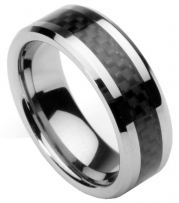 Men's Tungsten Ring/ Wedding Band with Carbon Fiber Inlay, Sizes 7 - 12 by Men's Collections (rg4) (8.5)