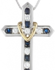 XPY Sterling Silver and 14k Yellow Gold Blue and White Sapphire Cross Your Heart Pendant Necklace, 18