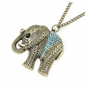 Cute Onlines Retro Blue Jewelry Crystal Elephant Necklace with Chain