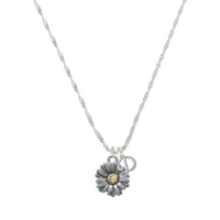 Two Tone Daisy Flower Mini Gelato Initial - D - Grace Necklace