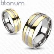 TIR-0012 Solid Titanium 2-Tone Gold IP Edges Band Ring; Comes With Free Gift Box (9)