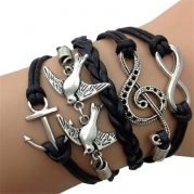 Bluesky Love Peaceful dove Antique Silver Infinity Double Birds Note Charms Leather Wrap Bracelet