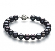 PearlsOnly Kaitlyn Black 8.0-8.5mm A Freshwater Cultured Pearl Bracelet-8-inch