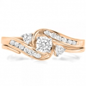 0.50 Carat (ctw) 10k Rose Gold Round Diamond Ladies Swirl Bridal Engagement Ring Matching Band Set 1/2 CT (Size 5)