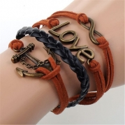 MOKOLO Bronze Infinity Lady Retro Knit Cross Love/Rudder Anchor/Love Charms Suede Wrap Bracelet