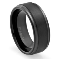 8MM Men's Titanium Ring Wedding Band Black Plated, Brushed Top and Grooved Polished Edges [Size 7.5]