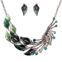 Yazilind Ethnic Style Tibetan Silver Green Peacock Crystal Chunky Bib Earrings Necklace Jewelry Set Wedding Party 2pcs