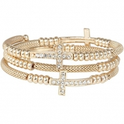 Heirloom Finds Crystal Sideways Cross Coil Wrap Bracelet of Gold Tone Mesh