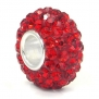 Ruby Red Crystal Ball Bead Sterling Silver Bracelet Charm