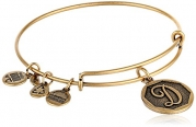 Alex and Ani Rafaelian Gold Finish Initial D Expandable Wire Bangle Bracelet, 7.25