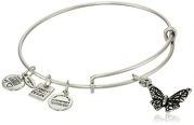 Alex and Ani Charity by Design Rafaelian Silver Finish Expandable Wire Bangle Bracelet with Butterfly Charm, 7.75