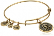 Alex and Ani Rafaelian Gold Finish Initial B Expandable Wire Bangle Bracelet, 7.25