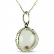 Sterling Silver Mustard Seed Pendant Christian Faith Pendant on 20 Box Chain Necklace with Verse Matthew 17.20