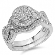 0.55 Carat (ctw) Sterling Silver Round White Diamond Womens Micro Pave Engagement Ring Set 1/2 CT (Size 6.5)