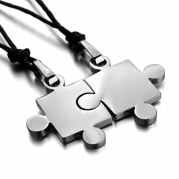 Men,Women's 2PCS Stainless Steel Pendant Necklace Silver Jigsaw Puzzle Love Valentine's Couples His & Hers Set Adjustable 20~22 Inch Chain
