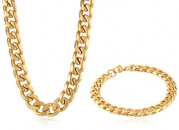 Men's Gold-Tone Stainless Steel Curb-Chain Bracelet and Necklace Jewelry Set