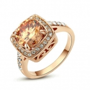 Yoursfs Sparkly 18k Rose Gold Plated Use Austrian Crystal Topaz Engagement Ring (7)