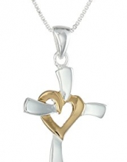 Two-Tone Sterling Silver and Yellow Gold-Flashed Heart Cross Pendant Necklace, 18