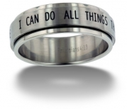 RSS7 Forgiven Jewelry-I Can Do All Things Stainless Steel Spinner Ring size 7-Christian Jewelry