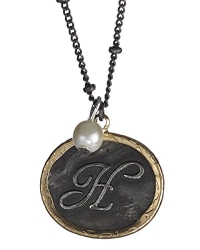H Monogram Rustic Antique Hammered Pendant 16 Necklace & Imitation Pearl Charm by Jewelry Nexus
