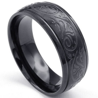 KONOV Jewelry Mens Stainless Steel Ring, Engraved Florentine Design Charm 8mm Band, Black, Size 11