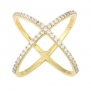 Sterling Silver CZ Gold-Plated X Criss Cross Long Ring (Size 5)