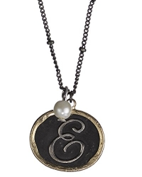 E Monogram Rustic Antique Hammered Pendant 16 Necklace & Imitation Pearl Charm by Jewelry Nexus