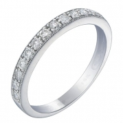 14K White Gold Diamond Wedding Band With Miligrain Setting (1/4 CT) In Size 6