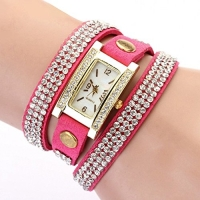 Women's Vintage Square Dial Rhinestone Weave Wrap Multilayer Leather Bracelet Wrist Watch (Rose Red)