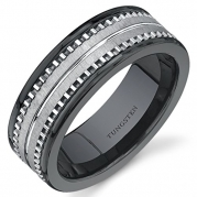 Flat Edge 7 mm Comfort Fit Mens Black Ceramic and Tungsten Combination Wedding Band Ring Size 8