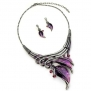 Silvertone Purple Leaf Statement Necklace and Earrings Set