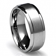 8MM Men's Titanium Ring Wedding Band with Flat Brushed Top and Polished Finish Edges [Size 9]