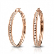 Bling Jewelry Stardust Finish Stainless Steel Rose Gold Plated Clear CZ Hoop Earring