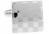 Santimon - White Steel Sudoku Dull Polish Decorative Pattern Men Cuff Cufflinks with Gift Box