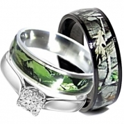 Camo Wedding Rings Set His and Hers 3 Rings Set, Stainless Steel and Titanium (Size Men 11; Women 9)