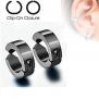 U2U Pair of 316L Surgical Stainless Steel Non-Piercing Clip On Round Earrings (Colors Optional) (Black)