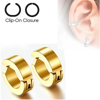 U2U Pair of 316L Surgical Stainless Steel Non-Piercing Clip On Round Earrings (Colors Optional) (Gold)
