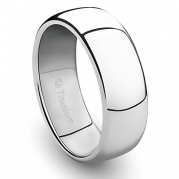 8MM Titanium Platinum Ring Classic Wedding Band with Polished Finish [Size 9]