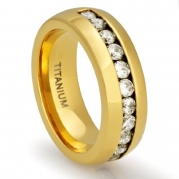 8MM Men's Titanium 18K Gold Plated Ring Wedding Band with Channel Set CZ Simulated Diamonds [Size 13]