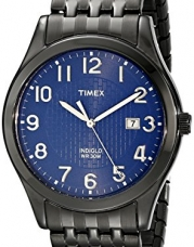 Timex Men's T2P2039J Elevated Classics Dress Black Plated Expansion Band Watch