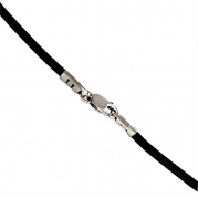 New BLACK Leather Cord Chain Sterling Silver Necklace 24 Long