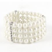 Ladies 4 Rows Off White Faux Pearls Decor Elastic Bracelet Bangle Jewelry