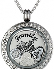 Charmed Lockets My Family My Love Pendant Necklace Charm Set, 24