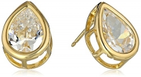 18k Yellow Gold-Plated Sterling Silver and Cubic Zirconia Pear-Shape Stud Earrings