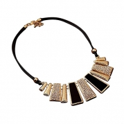 Nicerocker Amazing Beads Enamel Bib Leather Braided Rope Chain Necklace