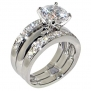 3.47 Ct. Round Cubic Zirconia Cz Solitaire Bridal Engagement Wedding 3 Piece Ring Set (10)